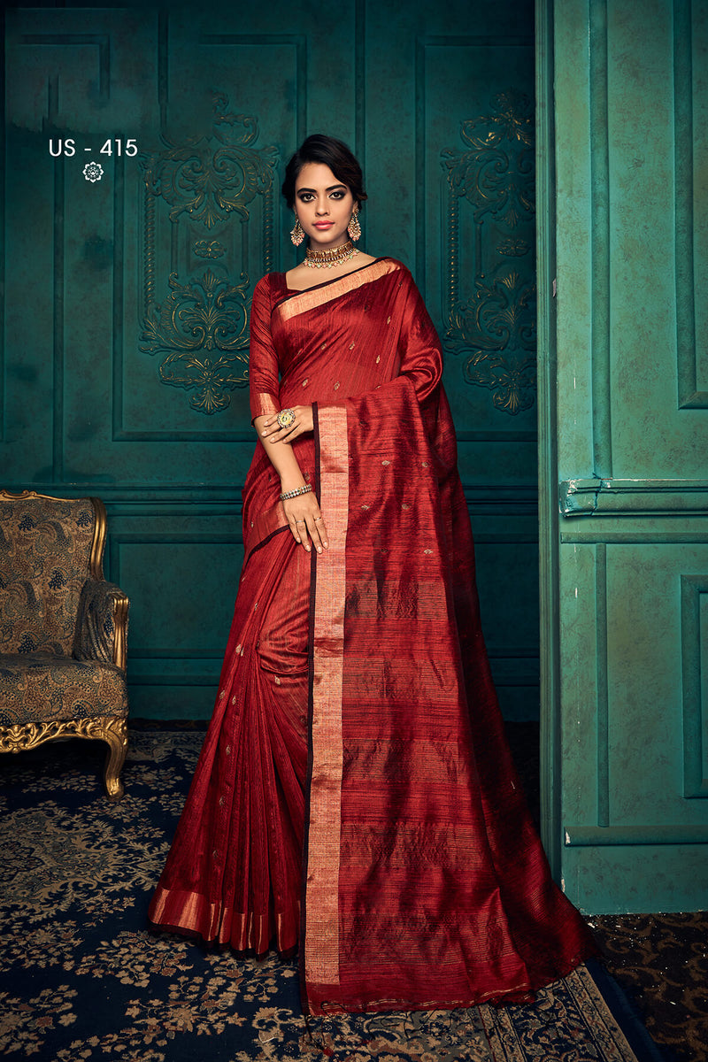 Linen Hand Woven Saree for Women with Zari Buta and Golden Zari Border