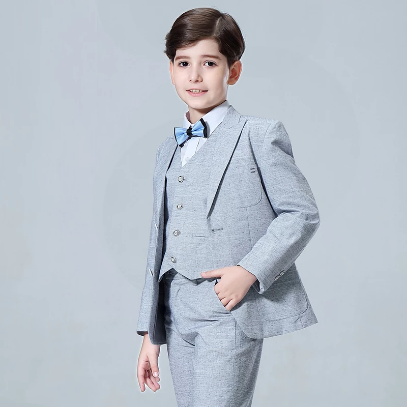 New Kids Plaid Wedding Blazer Baby Boys Suit Jackets Formal Coat+ Pants+vest 3 Piece Boy Suits Formal for Wedding Party Boys
