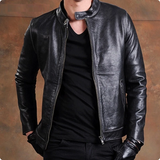100% Real Leather Jacket Stand Collar Slim Fit Plus Size Male Coat Homens