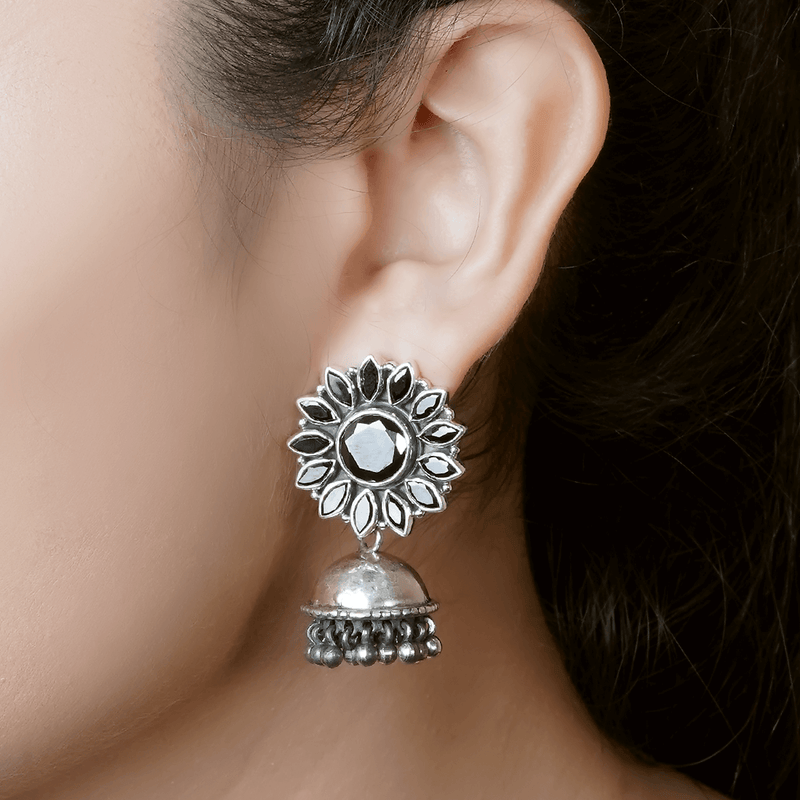 Floral Silver Jhumkis 92.5 Silver