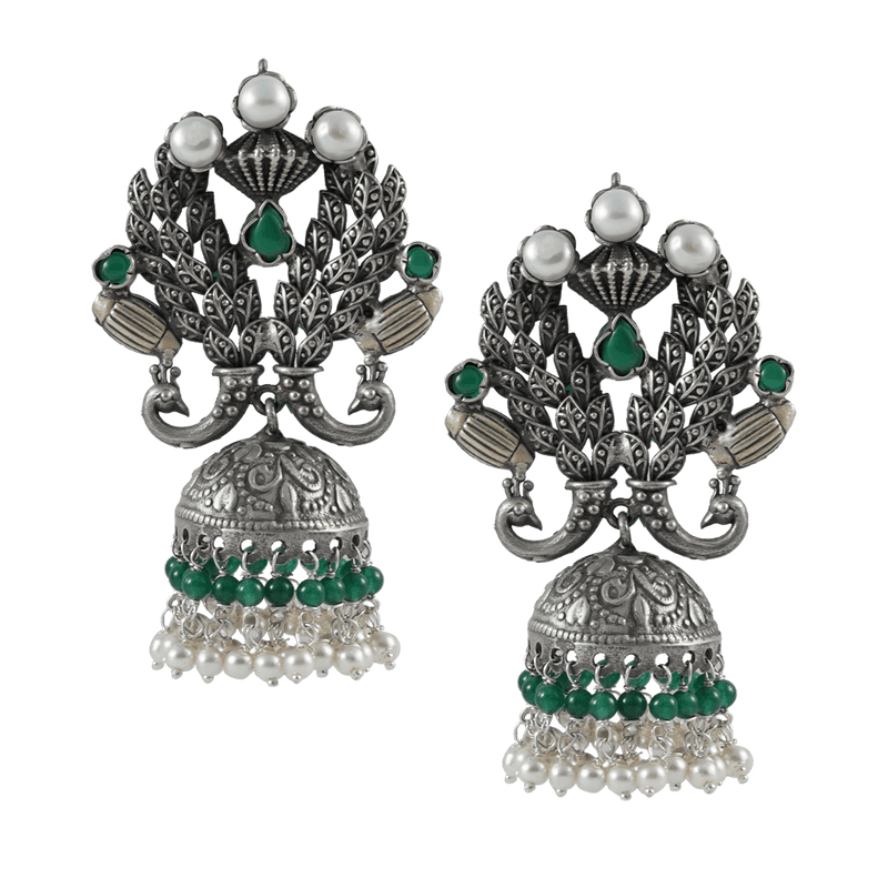 Silver Jhumki with Peacock Motif 92.5 Silver