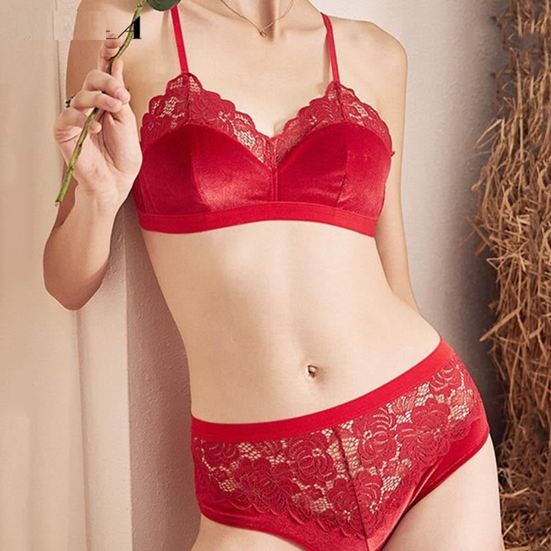 New Velvet Bras Lace Lingerie Set Blue Thin Cotton Brassiere Women Underwear Set Wire Free Embroidery Sexy Bra Panties Sets