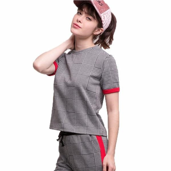 Spring Women Causal Sporty Plaid T-Shirts Striped Pattern Short Sleeve Female Tees Check Fashion Women T-Shirts