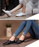 Women' Shoes Casual Ballet Soft Genuine Leather Loafers Slip On Woman Flats Shoe Flexible Peas Footwear Large Women Size