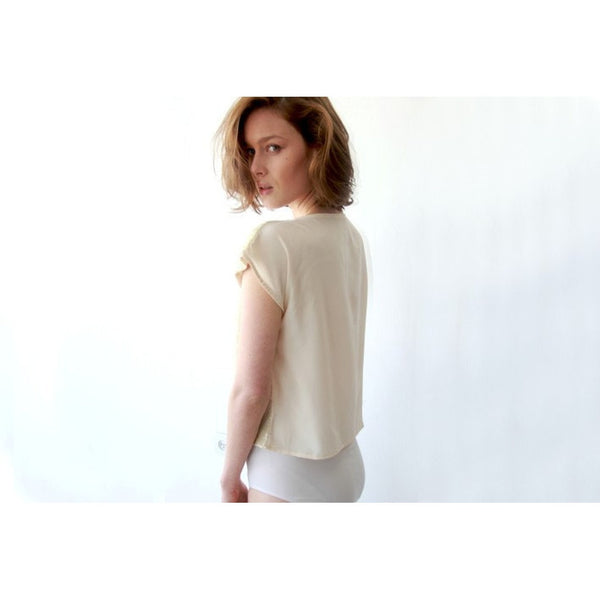 Short sleeve cream sparkling sequin top SALE 2002