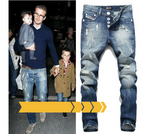 New Hot Sale Fashion Men Jeans Straight Fit Ripped Jeans Italian Designer Distressed Denim Jeans Homme!982-1