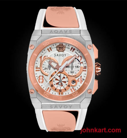 Savoy Midway 41mm Swiss Made Quartz Chrono Rose Gold IP White – White