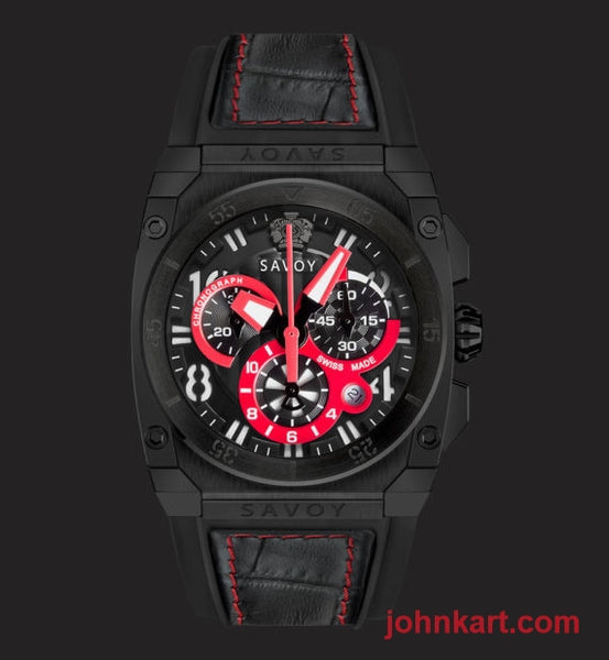 Savoy Midway Swiss Made Quartz Chrono Black IP 41mm Black – Black w. Red stitching