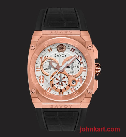 Savoy Midway 41mm Swiss Made Quartz Chrono Rose Gold IP White – Black