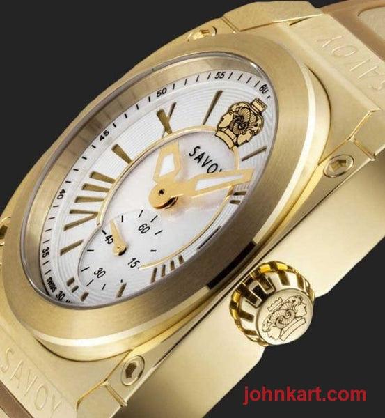 Savoy Icon Light 35mm Swiss Made Ladies Watch Yellow Gold IP – Camel