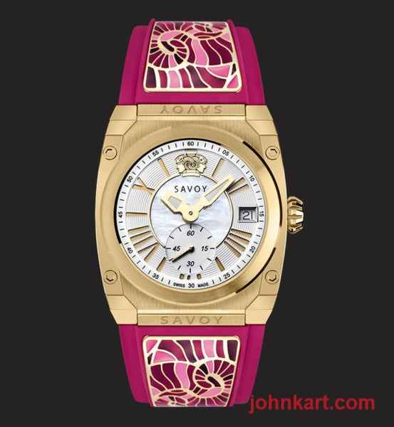 Savoy Icon Light 35mm Swiss Made Ladies Watch Yellow Gold IP – Pink