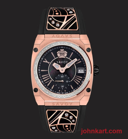 Savoy Icon Light 35mm Swiss Made Diamond Ladies watch Rose Gold IP – Black Enamel w Swavroski stones