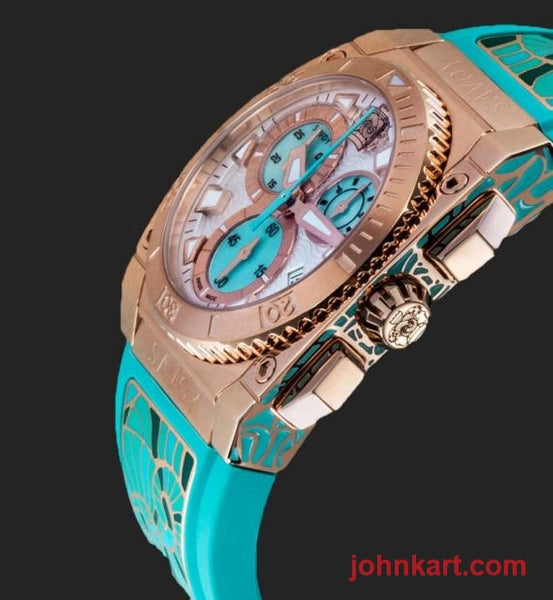 Savoy Icon Light Chrono 35mm Swiss Made Ladies Watch Rose Gold IP enamel accents – turquoise