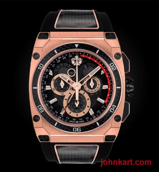 Savoy Extreme Carbon 43mm – Swiss Made Limited Edition Carbon to 200 – Rose Gold and Black carbon case side