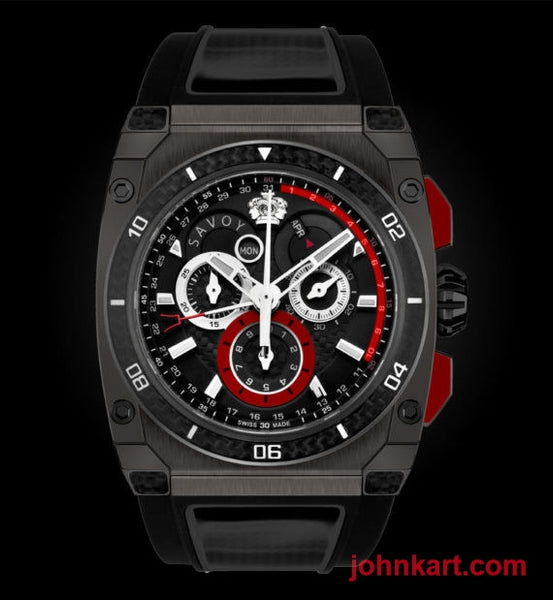 Savoy Extreme Carbon 43mm – Swiss Made Limited Edition to 200 – Gun IP with red carbon case side