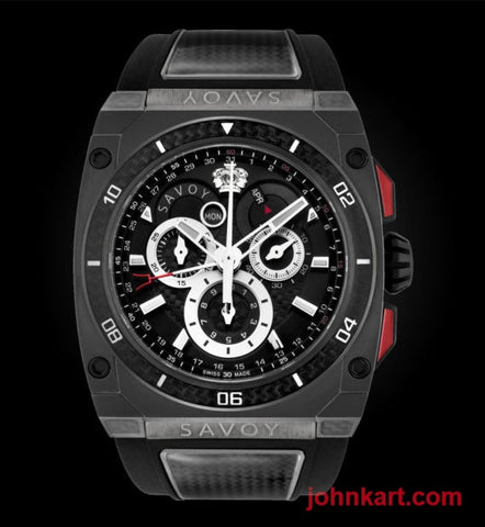 Savoy Extreme Carbon 43mm Swiss Made Limited Edition Stainless Steel Carbon – Black dial with SS chrono Rings.