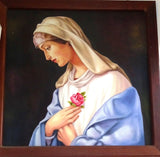 Peace-Madonna, Mother Mary painting, prayer art, spiritual art, flower art, rose, turquoise