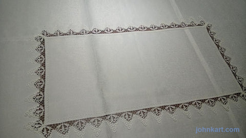 Table Clothn - White with Croche lace