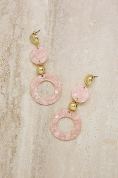 Soft Focus Resin Circle Drop Earrings in Pink