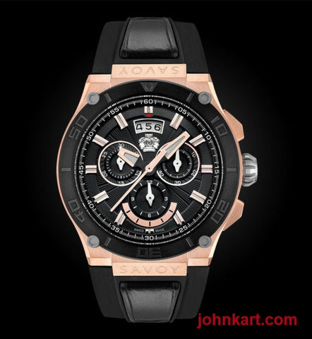 Savoy Metropolitan 44mm Swiss Made Quartz Chrono Rose Gold IP – Black