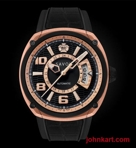 Savoy Epic Automatic 43mm Swiss Made Rose Gold IP – Black