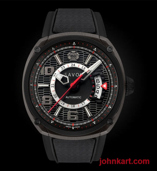 Savoy Epic Automatic 43mm Swiss Made Gun IP – Black Carbon