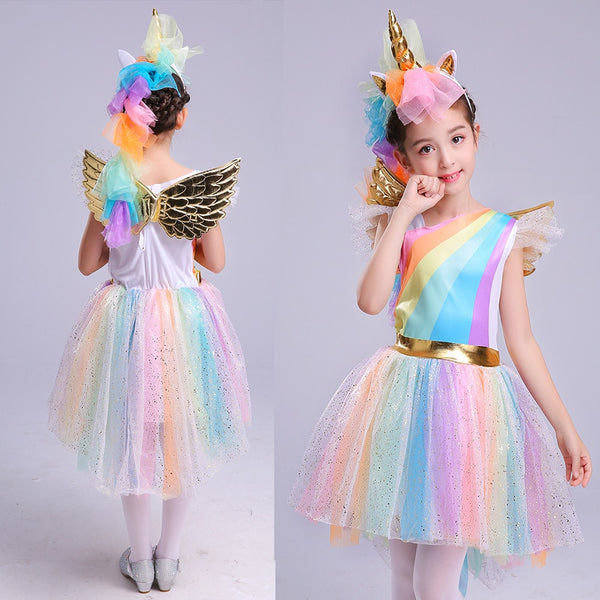 Girls' Dress Rainbow Unicorn Party With Headband