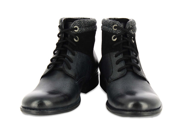 Alberto Torresi Guelfo Black Leather Men Boots