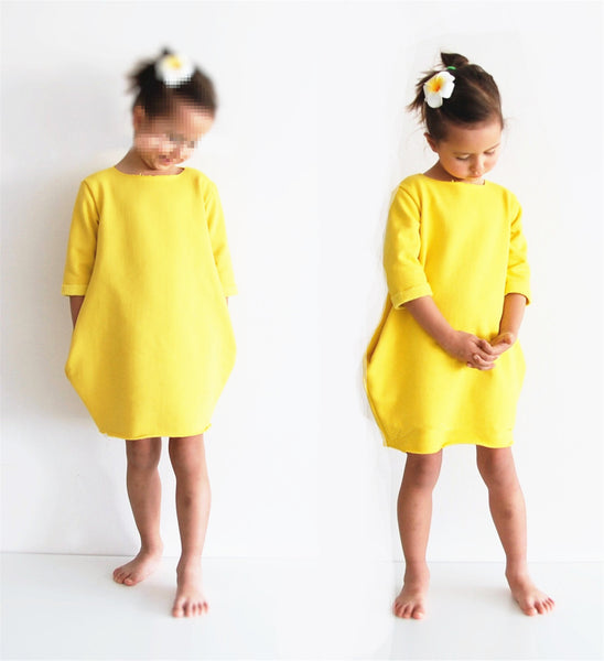 Autumn Mother and Daughter Dress Half Sleeve Solid Yellow Warm Women Kids Girls Party Dresses Family Matching Clothing
