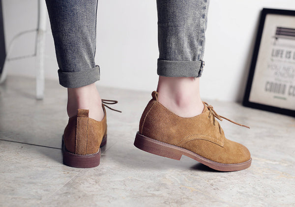 Retro Oxford Shoes for Women Genuine Leather Shoes Woman Lace up Oxfords Flat Shoes Women Plus Size 9 10 11