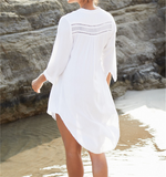 Casual Hollow Out V-Neck Long Sleeve Front Open Loose Summer Beach Dress White Cotton Tunic Women Beachwear Cover-Ups