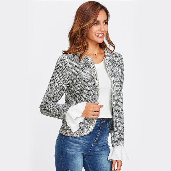 Sheinside Contrast Ruffle Cuff Curved Tweed Blazer Women Collarless Single Breasted Fitted Office Lady Elegant Work Blazer