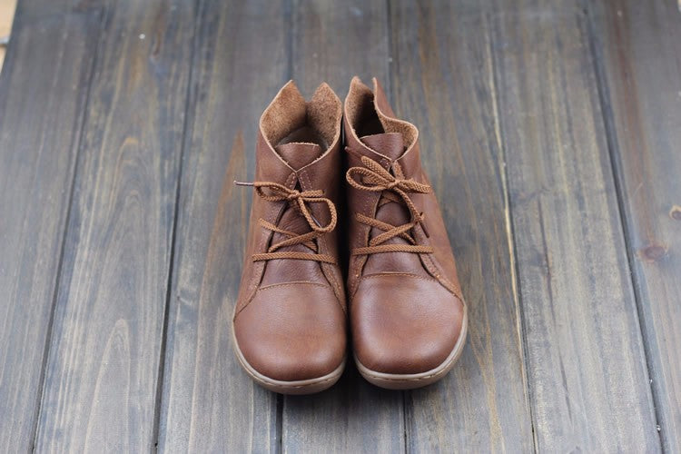 Women Ankle Boots Hand-made Genuine Leather Woman Boots Spring Autumn Square Toe lace up Shoes Female Footwear
