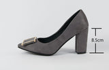 High Heels Shoes Women Pumps Party Shoes Fashion Thick High Heels Pointed Toe Flock Ladies Shoes Gray Plus Size 10 40 43