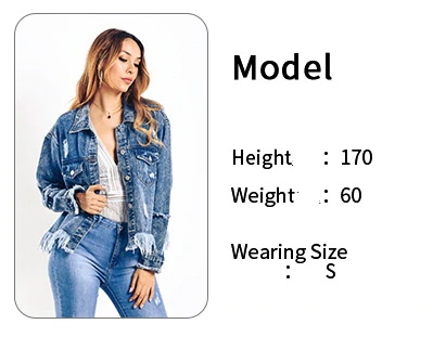 Denim Jacket Women Autumn New Fashion Female Long Sleeve Single Breasted Tassel Ripped Loose Outerwear Jeans Jacket