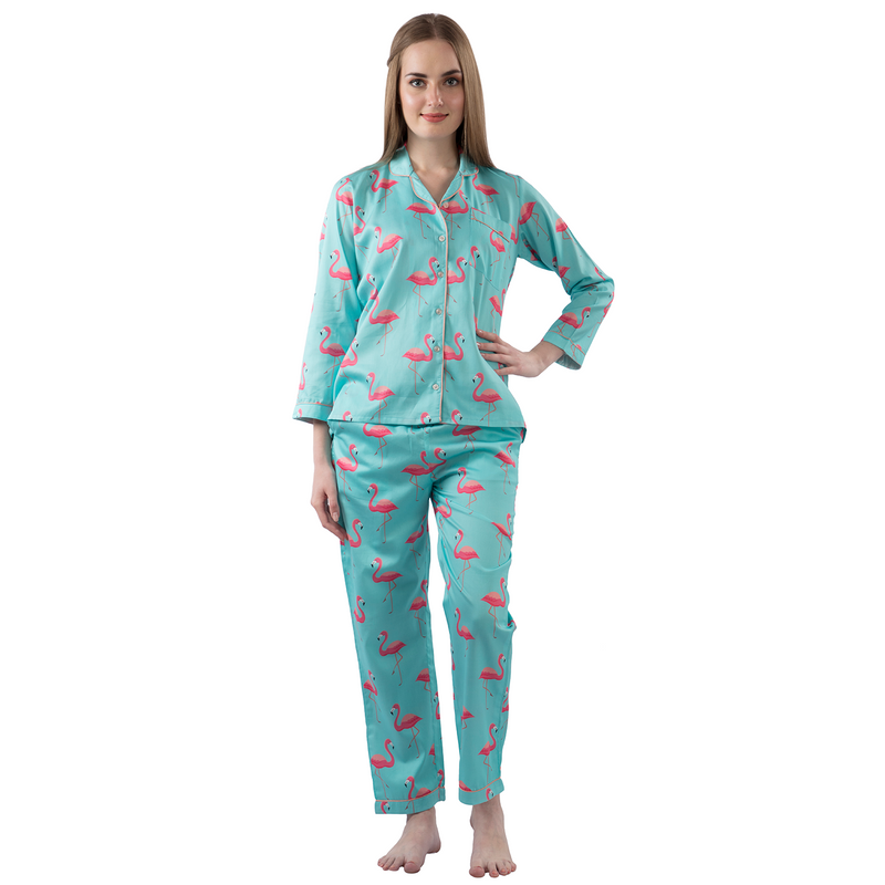 Pink Flamingo Women's Cotton Pyjama Set