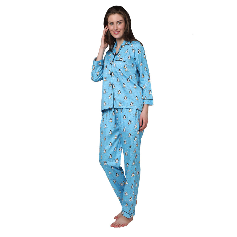Penguins Women's Cotton Pyjama Set
