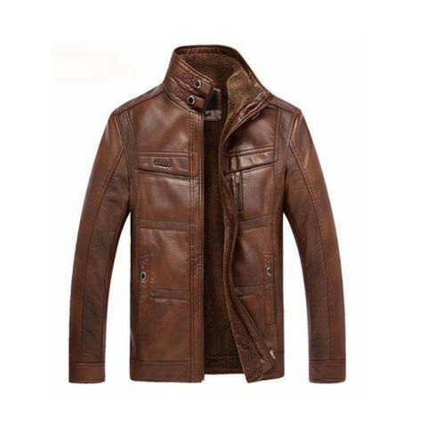 Leather Jacket Men Winter Leather Jacket Solid Thick Coat Male Thermal Fleece Casual Stand Collar Clothing 5XL,YA512
