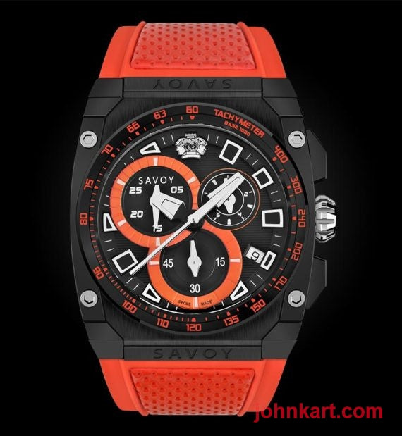 Savoy Chrono Sport 45mm Swiss Made Black Patterned Dial Limited Edition – Orange