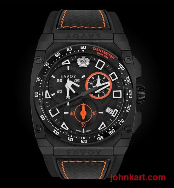 Savoy Chrono Sport 45mm Swiss Made Black Patterned Dial Limited Edition – Black Chrono Sport