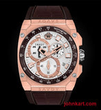 Savoy Chrono Fashion 45mm Swiss Made Silver Patterned Dial Limited Edition – Brown Croco
