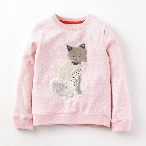 Children brand baby girl clothes autumn new girls long sleeve Terry Knitted polka dot fox pink t shirt C0032