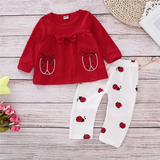 Cartoon Ladybug 2Pcs Baby Girl Clothes Set Autumn Clothes For Newborn Girls Red Tops+White Pants 0-2Years Breathable Kids Sets