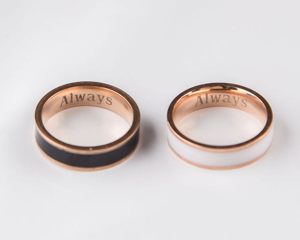 Rose Gold Couple Rings Black and White