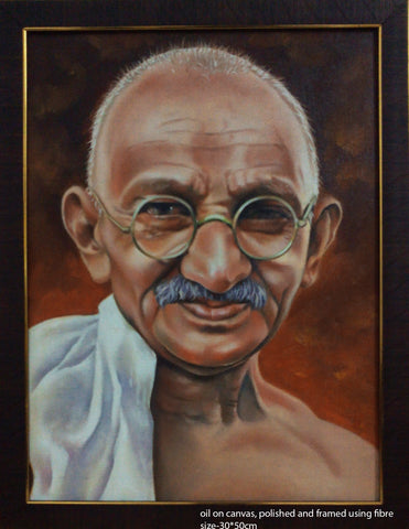 Oil painting of Mahatma Gandhi