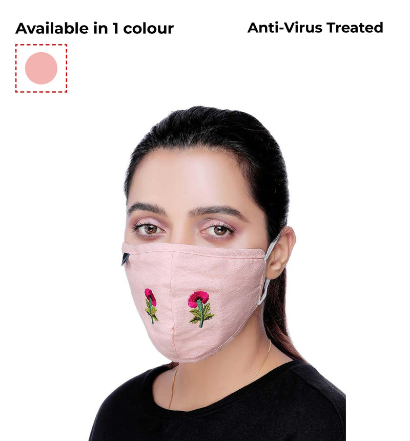 Linen Cotton blend embroidery premium protection Mask