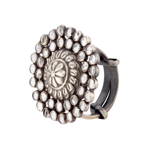 Flora Tribal Silver Crystal Ring 92.5 Silver