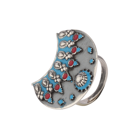 Red-Blue Enameled Silver Ring