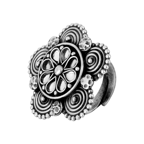 Tribal Silver Crystal Ring 92.5 Silver