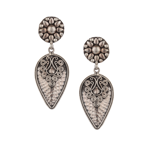 Tribal Silver Earrings 92.5 Silver